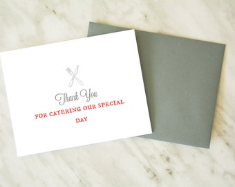 Wedding Caterer Thank You Card / Thanks for Catering Our Wedding / Wedding Party Card