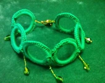 Green Hooped Bracelet - Hand Crocheted