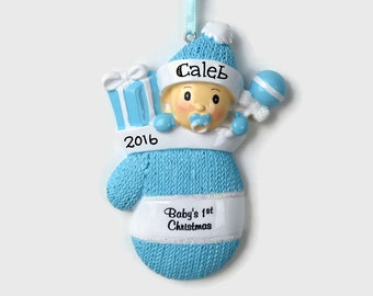 Baby in a Mitten  - Baby Boy - Baby's First Christmas - Baby Boy - Hand Personalized Christmas Ornament