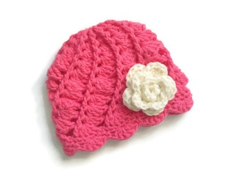 Crochet Baby beanie.  Girls Flower Hat. Crochet Infant Hat. Newborn Hospital Hat. Knit Newborn Hat.  Crochet Photo Prop. Kids Winter Hat