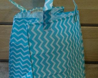 Blue Chevron Reusable Grocery Bag