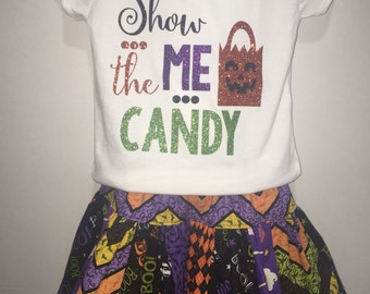 Baby Infant Toddler Girls Halloween Cutie Show Me The Candy Glitter Vinyl Black and Orange Pumpkin Boutique Shirt and Skirt Set