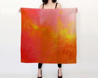 Orange and Yellow, Watercolor Silk Scarf, Original Abstract Watercolor,
