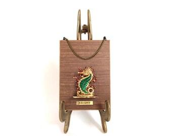 Vintage Seahorse Souvenir Rustic Wood Plate Eckernfoerde Germany Baltic Sea souvenir wall hanging plate