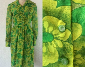 Vintage 1960s Lime Green, Kelly Green and Yellow Floral Shirt Dress, Size 8, Medium