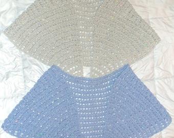 "Blue Cape Shawl Crochet Wrap 13"" x 53"" Sparkle Shimmer Twinkle Dressy Party Lacy Shawl Stole, Original Design, Prom Fashion Cape Shawl"