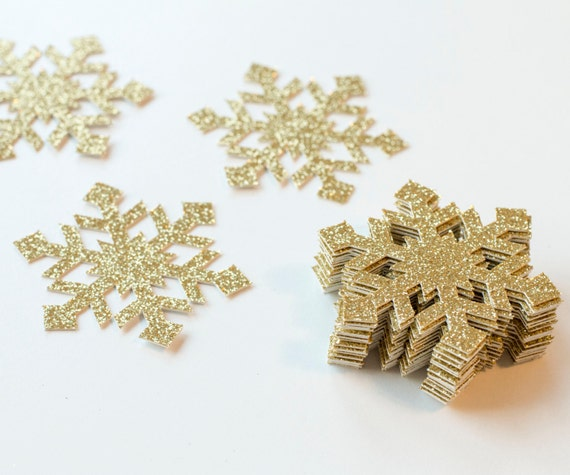 Snowflakes Confetti, Gold Glittered Snowflakes for Winter Wonderland Party - 12 PCS
