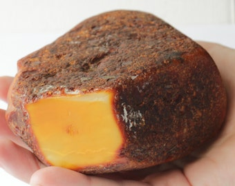 天然琥珀石多色生 Natural Raw Baltic Amber Stone Unpolished 340 gr q