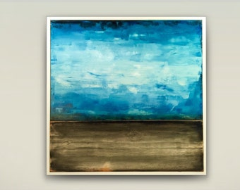 Reclaimed wood wall art,large abstract,stretched canvas and wood board art,teal gray  white,modern abstract seascape horizon,sunrise art