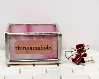 Pink Stained Glass Office Container, Decorative Box Key Holder, Office Decor, Dorm Accessory, Word Lover Gift, Geometric Decor, Office Item