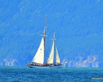 Sailing vessel Zodiac on Bellingham Bay, seascape picture, wall art, breezy choppy bay art