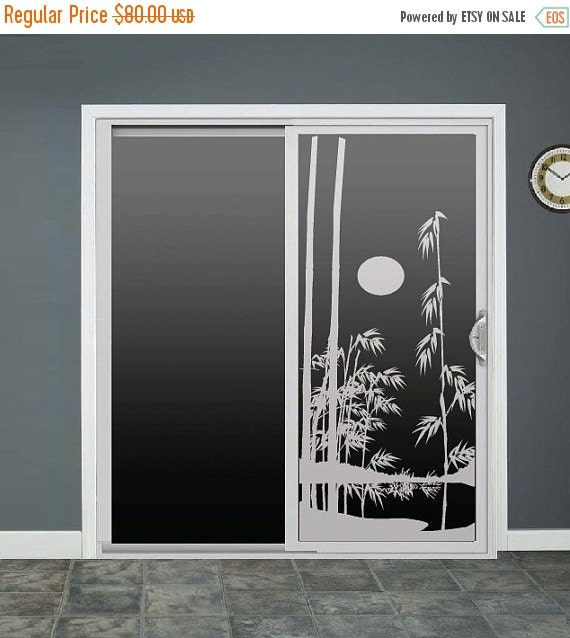 69676492c ... Sliding Door Window Decals: Items Similar To Bamboo Glass Door Decals  Sliding Door