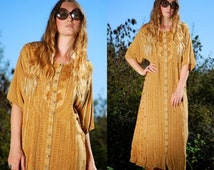 ON SALE Indian Maxi Dress Boho Hippie Embroidered Dress Paisley Ethnic Batik Festival Dress Beach Caftan Kaftan Bohemian Button Front Dress