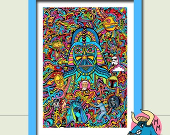 Darth Vader Art Print , Star Wars Art Print, A3 Art Print, Wall Art, Fine Art, Art Deco, Boyfriend Gift, Husband Gift, Gift For Men, Sci-Fi