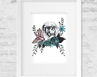 Gypsy Soul, Full Moon, Moth, Roses, Watercolor Illustration, Art Print