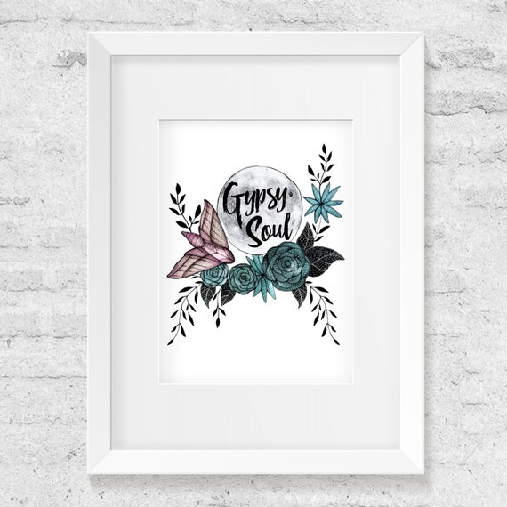 Gypsy Soul, Full Moon, Moth, Roses, Watercolor Illustration, Art Print