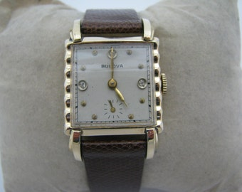 Nice Vintage 1945 Mechanical Bulova Watch with Leather Band