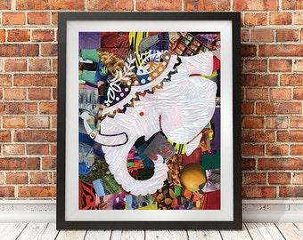 Elephant wall art, Mixed media collage art, Bohemian decor, Elephant painting, kids room decor kids room art, Nursery decor, Baby decor