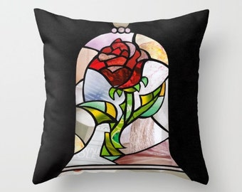 Beauty and the beast rose, Enchanted Rose throw pillow, Princess nursery decor, the enchanted rose, Indoor/Outdoor Pillow, accent pillow