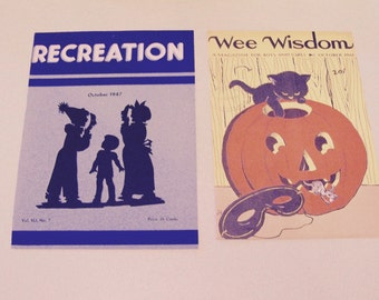 Two vintage Halloween children's magazine covers 1961 Wee Wisdom 1947 Recreation costume silhouette black cat pumpkin JOL