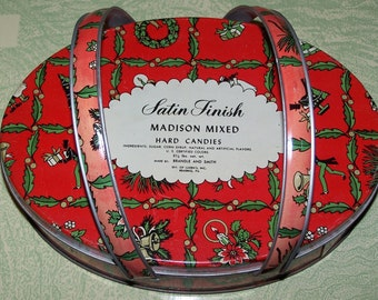 Vintage retro Christmas candy advertising tin Madison mixed hard candies Brandle and Smith Luden's