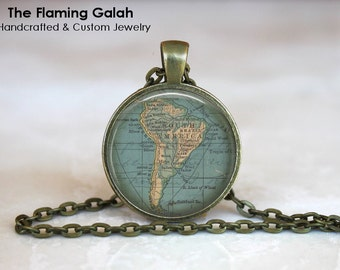 SOUTH AMERICA Map Pendant • Vintage South America • South America Continent • Gift Under 20 • Made in Australia (P0455)