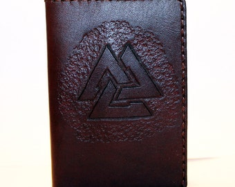 Leather Passport Cover With Valknut! Leather Passport Holder! Leather Travel Passport Cover! Brown Handmade Passport Cover! SALE