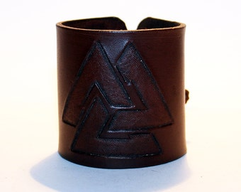Leather Cuff With Valknut!Norse Symbol! Cuff With Viking Symbol! Great Handmade Bracelet! Great Gift!