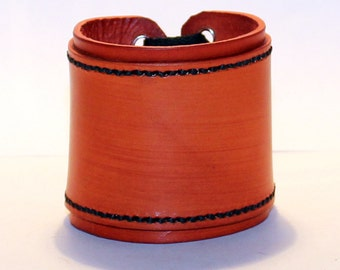 Orange Leather Cuff Bracelet! Nice Gift For Women! Nice Gift For Men! Great Handmade Leather Bracelet! Handmade Leather Accessories!