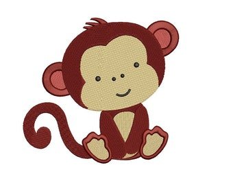 Monkey Filled Digitized Machine Embroidery Design Construction Pattern - sizes to fit 4x4 , 5x7, and 6x10 hoops