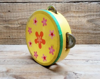 Vintage Tambourine, Wooden Tambourine, Yellow Tambourine, Childrens Tambourine, Flowers Pattern, Soviet Era Musical Toy
