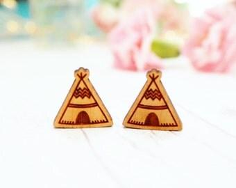 Wooden Tipee Studs | Studded Earrings
