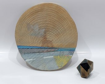 Wooden Sunset, by Juanma Pérez. Landscape on pine. 15 inch. diameter