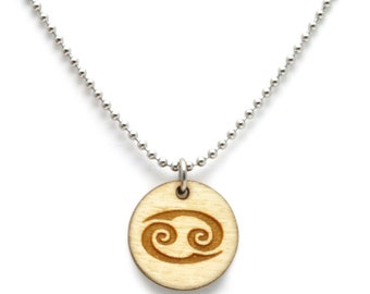 Zodiac Sign Necklace ,  Natural Wood Astrology Necklace