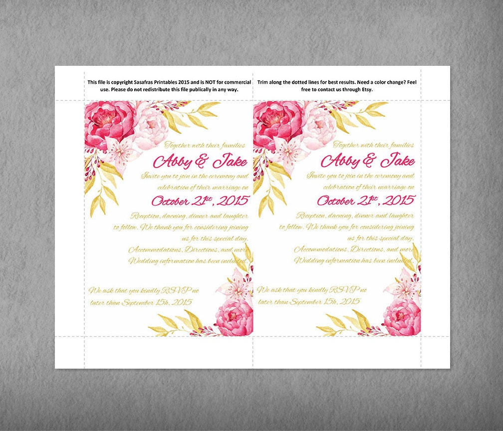 Watercolor Pink and Gold Wedding Pocketfold Invitation Template ...