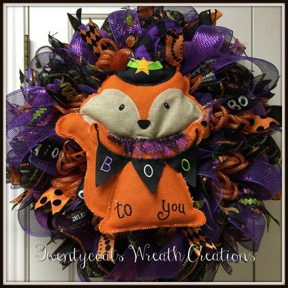 "Halloween Fox ""Boo to you"" wreath"