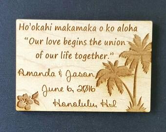 Wedding Favor, Magnets, Hawaii  - Bride, Groom, Gift, Save the Date, Rustic, Custom, Hawaii Wedding Favor