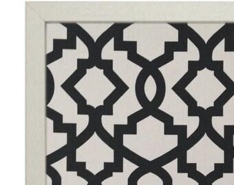Framed Fabric Magnetic Board / Charcoal Sheffield Geometric Pattern / Magnetic Bulletin Board