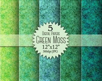 "Paper ""GREEN MOSS"" for scrapbooking. 5 digital papers pack. Digital texture. Moss pattern. Digital illustration. Background texture. Supply."
