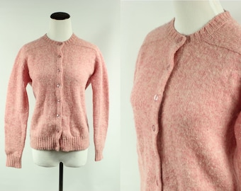 60s Carnation Pink Marled Wool Cardigan Sweater