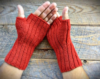 Mens red wool fingerless gloves - mittens - women - hunting safety - texting - geocaching