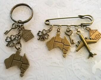 Bronze Australia emigration gift bronze charms~Emigration keyring or kilt pin brooch~good luck gift