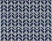 Rustic Herringbone Fabric by the Yard Designer Indigo Blue Fabric Drapery Fabric Curtain Fabric Cotton Upholstery Fabric Navy Fabric B451