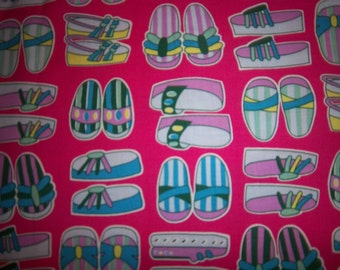 C12 BTY  Bright Pink Cotton Fabric with Colorful Flip FLops