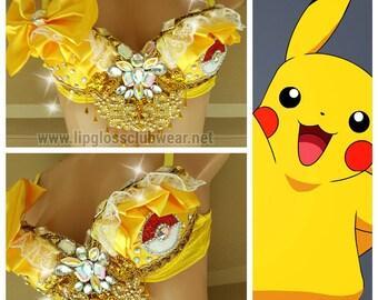 Pokemon Pikachu Bra, Pikachu Top, Pokemon Top, Pokemon Bra, Pokemon Rave Bra, Pikachu Rave Bra, Pikachu