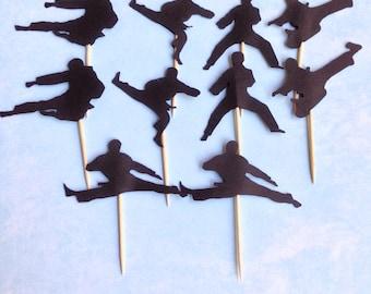 Set of 10 Karate Silhouette Cupcake Topper-Food Pick-Taekwondo-Judo-Karate Theme Party