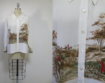 Vintage blouse, long sleeves blouse vintage white top, vintage buttoned top, horse print blouse, Tailored Shirt, country blouse,rare vintage