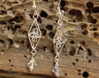 Silver Wire Wrap Swarovski Crystal Earrings