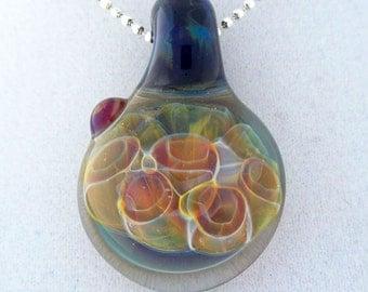 Multicolor honeycomb implosion, hand blown glass pendant