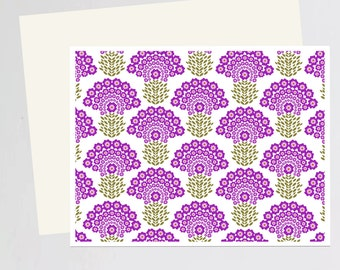Purple Flower print Greeting Card